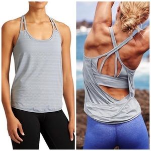 Athleta grey cross back laser cut tank w/ bra xs